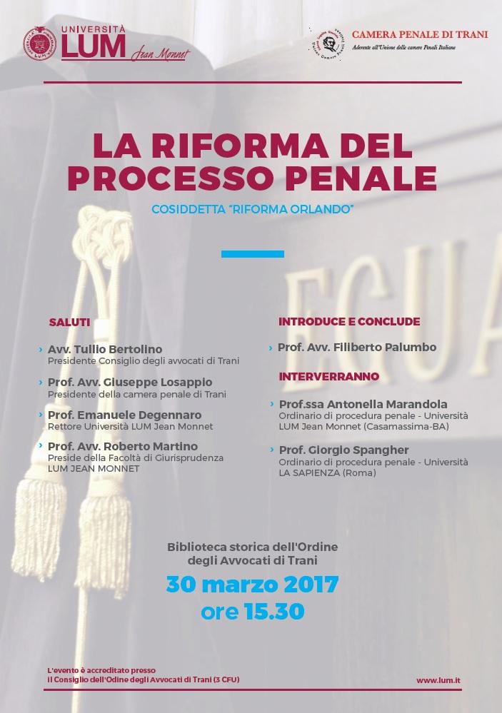 Trani, La riforma del processo penale