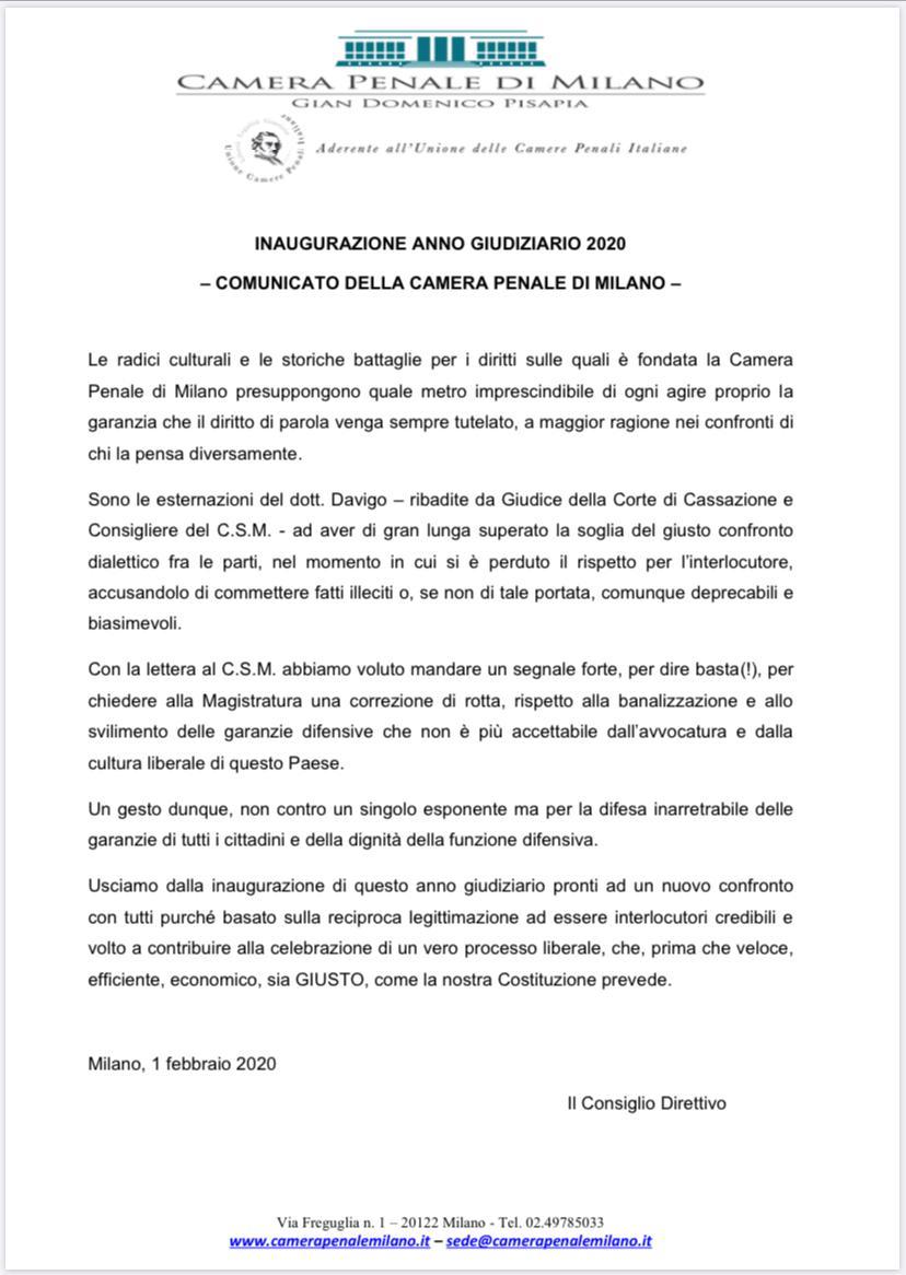 inaugurazione dell'anno giudiziario a Milano. La protesta degli avvocati della Camera penale di Milano per le dichiarazioni del dott. Piercamillo Davigo. Il comunicato