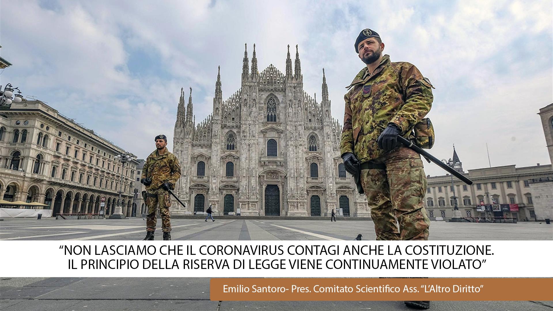 """""""NON LASCIAMO CHE IL CORONA VIRUS CONTAGI LA COSTITUZIONE."""""""